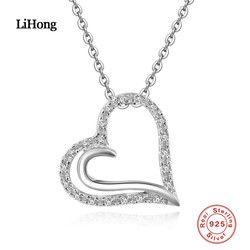 925 Sterling Silver Kalung AAA Zirkon Liontin Hati Rantai untuk Wanita Merek Perhiasan