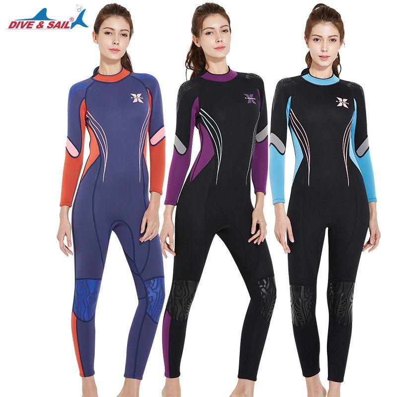 DIVE&SAIL 3mm Long Sleeve Diving Suit Women Scuba Snorkeling Surfing Swimsuits Girls UV Sunscreen Jumpsuit Swimwear Rash Guards