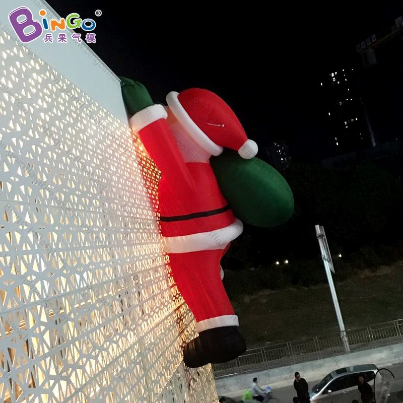 Free shipping 8 meters giant inflatable Christmas Santa Claus climbing wall decoration for advertising customized festival toys