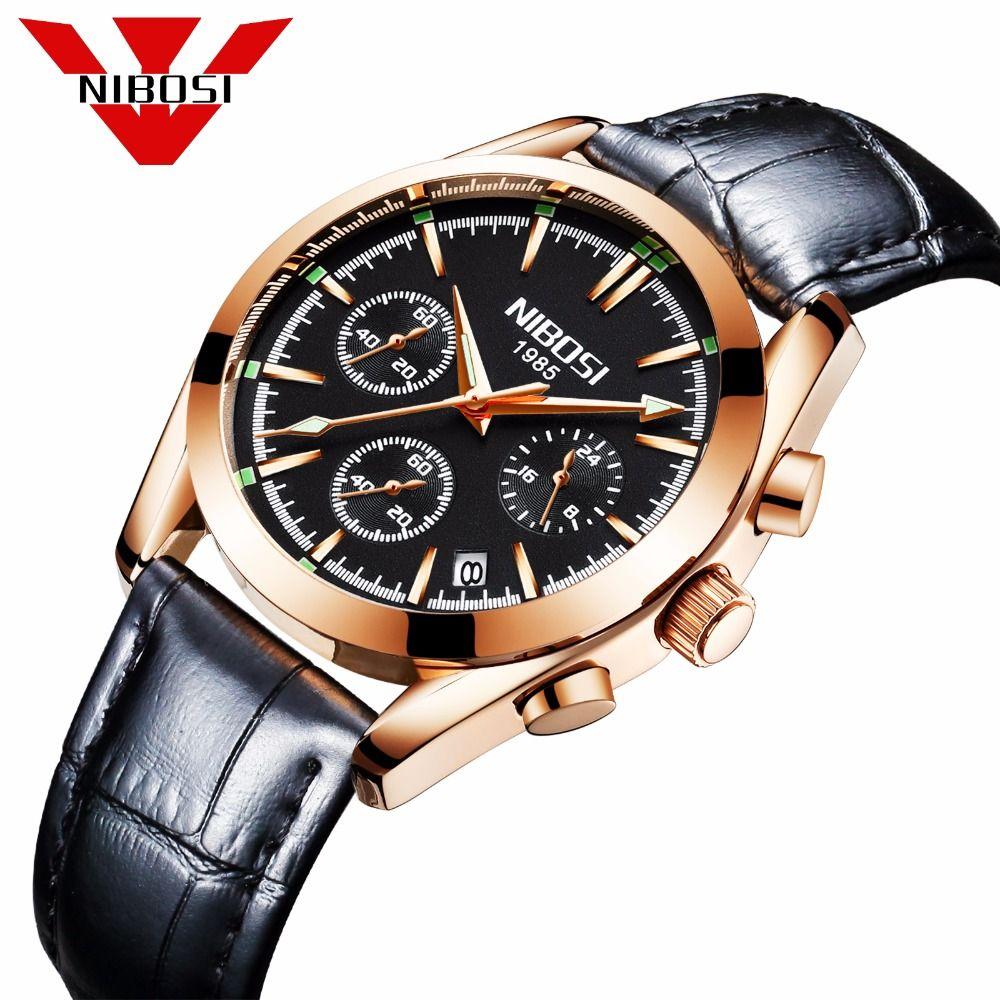 relogio masculino NIBOSI Men Watches Top Brand Luxury Business Quartz Waterproof Wristwatches Leather Strap Saat <font><b>reloj</b></font> hombre