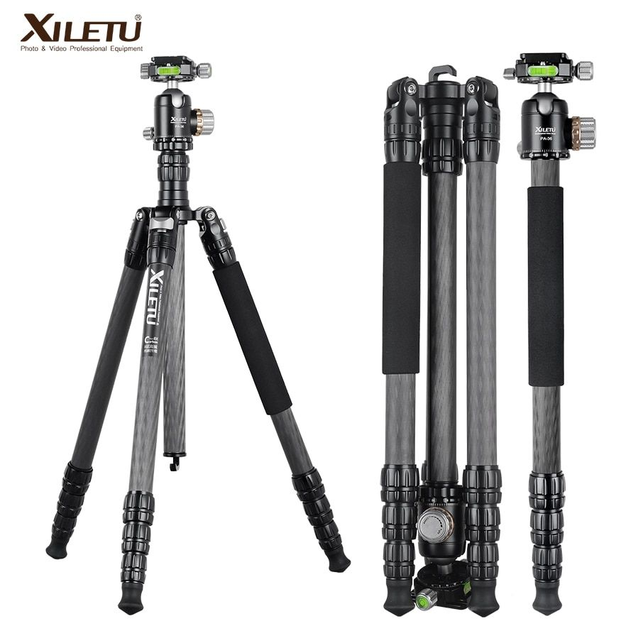 XILETU PA-2C36 professional carbon fiber arca swiss tripod for camera and tripod panorama ball head UNC 1/4 and 3/8 screw