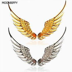 1 Pair Car Styling Fashion Metal Stickers 3D Wings Car Sticker Car Motorcycle Accessories Gold/silver