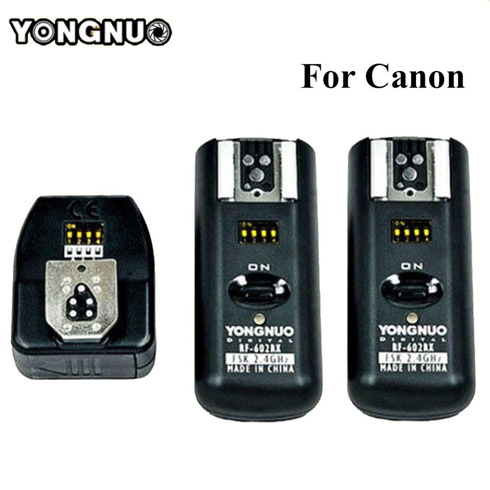 Yongnuo RF602 RF-602 2.4 GHz déclencheur Flash à distance sans fil 1 X émetteur + 2 X récepteurs pour Canon 1100D/1000D/600D/550D/500D
