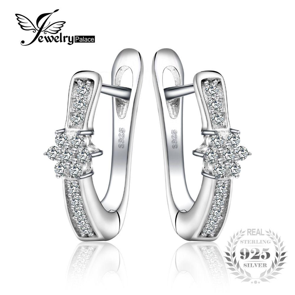 JewelryPalace Flor Aniversario Channel Set Pendientes 925 Joyas de Plata para Las Mujeres de Moda de Cumpleaños Para Gifl