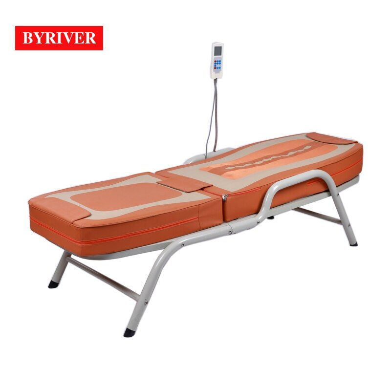 BYRIVER Factory Wholesale Jade Stone Full Body Massage Bed with Metal Iron Frame 5+4 roller Massager Mat Drop Shipping