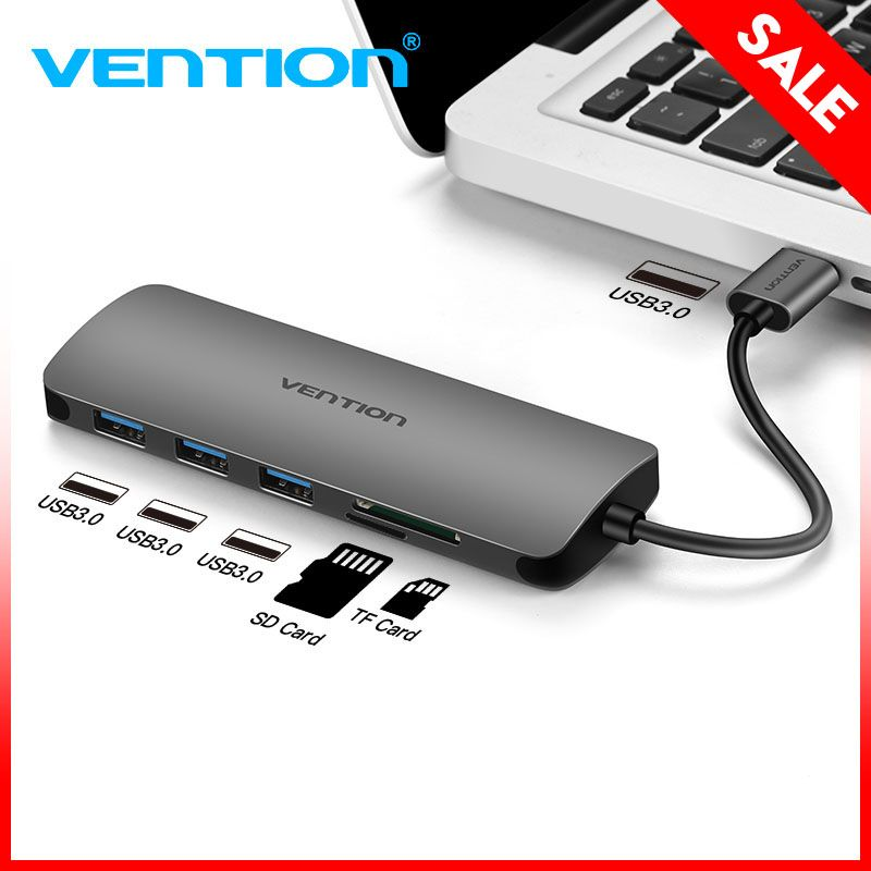Vention High Speed 3 Ports USB 3.0 Hub With Card Reader Portable OTG Hub USB Splitter SD TF Reader for Macbook Laptop PC Tablet