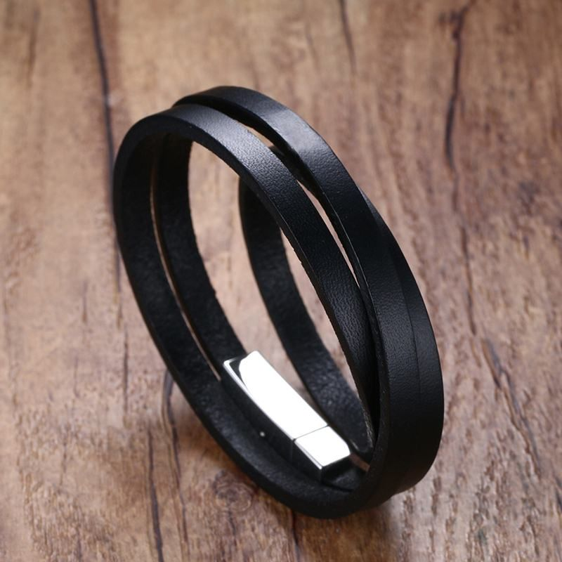 Black Leather Wrap Around Bracelets for Women Men Vintage Wristband Stainless Steel Clasp  Bangles Unisex Male Jewelry