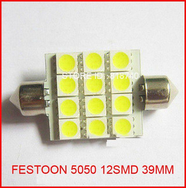 New 12V 39mm Interior Dome Festoon SMD 5050 12 LED SMD 12SMD 12LED Car light Bulb White Bright ,
