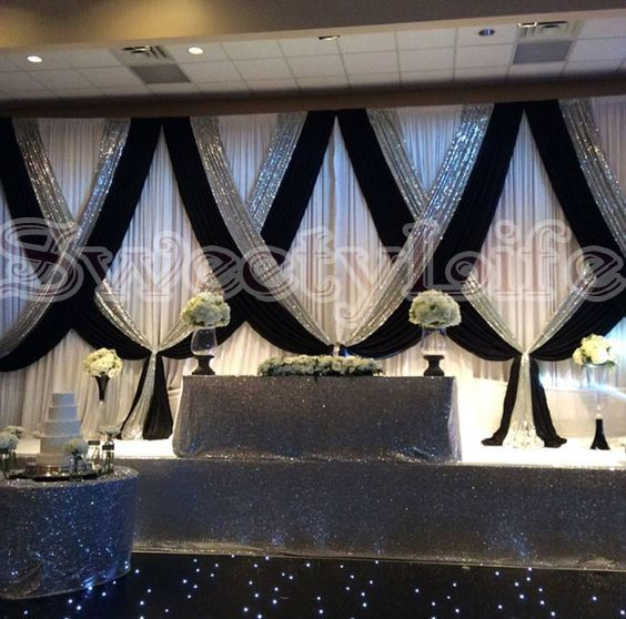 Black and white with Shiny Silver Sequin Wedding backdrop wih beautiful swags bling Weding stage curtain Wedding Decoration