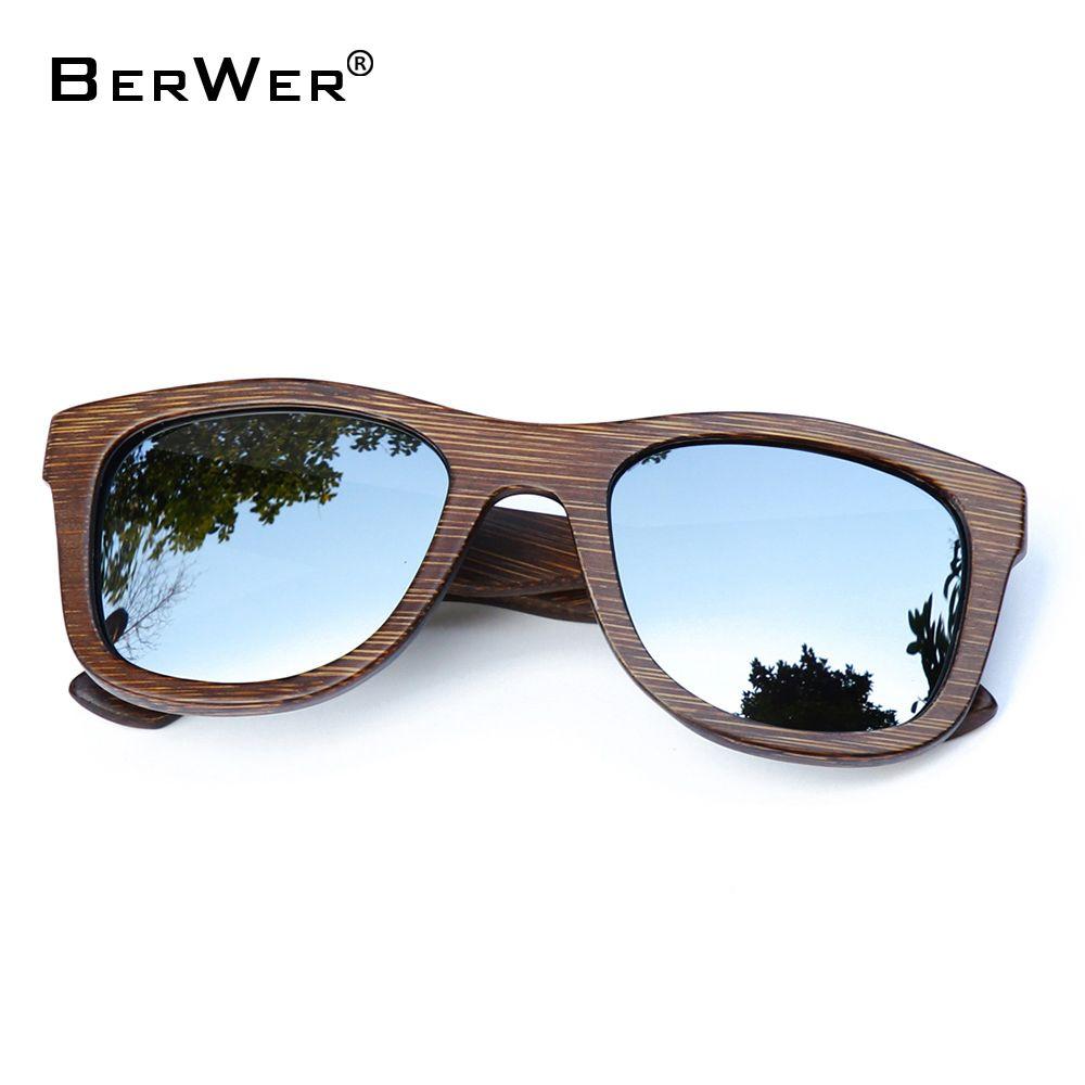 BerWer 2018 mode polarisées lunettes de soleil disponibles soleil en bois de Bambou