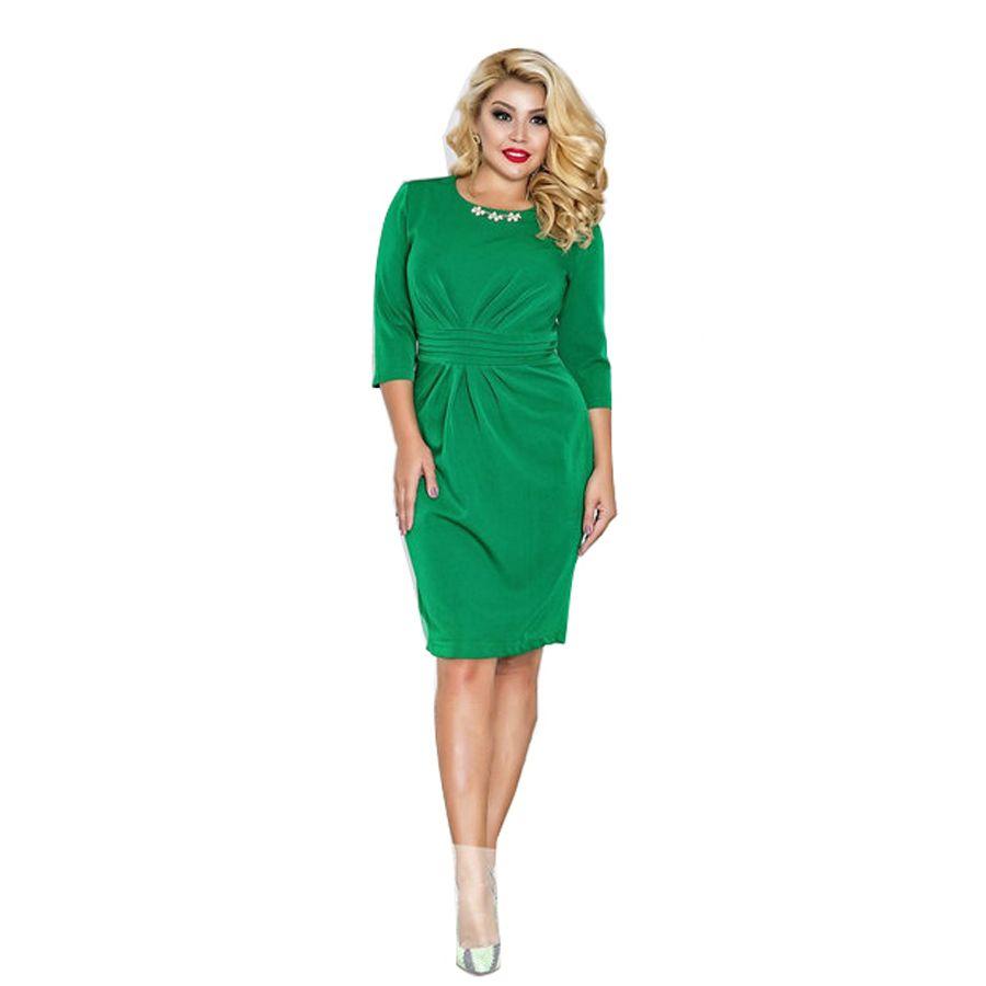 2018 marque femmes robe Vestidos grande taille Maxi surdimensionné 6XL O cou genou longueur trois quarts crayon robe gaine couleur unie