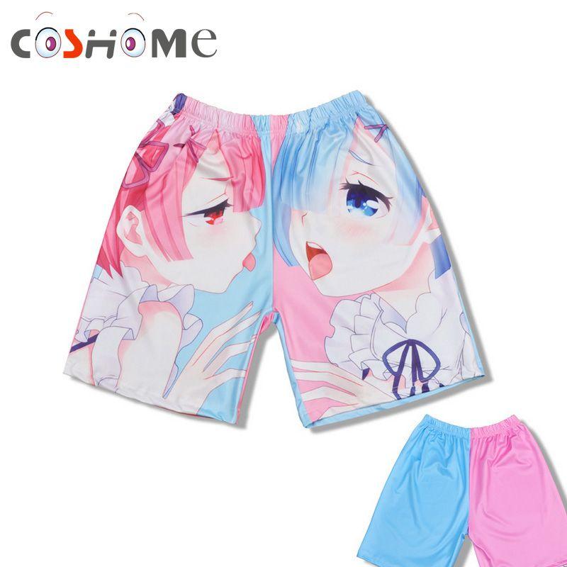 Coshome Re Zero Ram Rem Shorts Kara Hajimeru Isekai Seikatsu Sexy Underwears Men Women Adult UnderPants Anime Beach Shorts