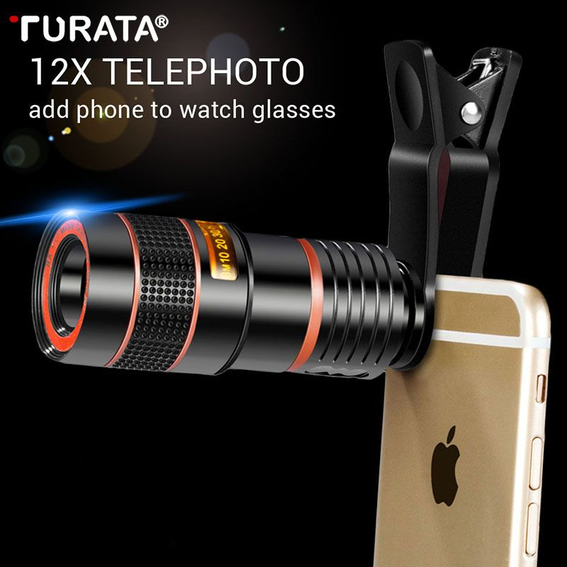 Turata Universal 12X 8X Optical Zoom Mobile Phone Telescope Lens External Smartphone Camera Lens Clip For iphone Samsung Huawei