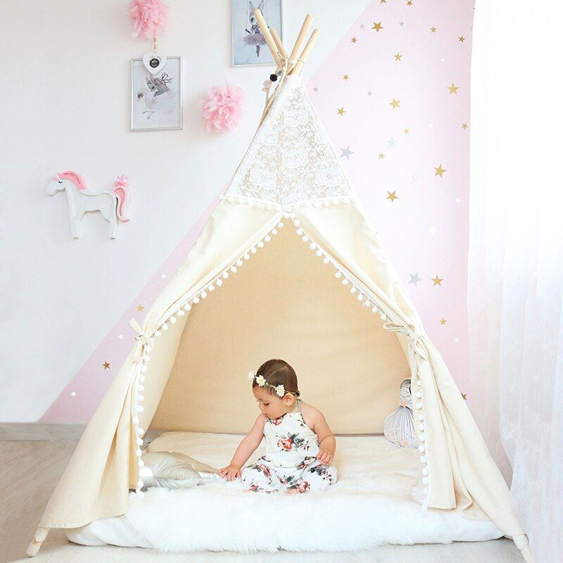 Lace Tipi Tent For Kids Cotton Teepees For Children Playhouse Foldable Play Tent For Baby Reading Corner Extra 5 USD Coupon