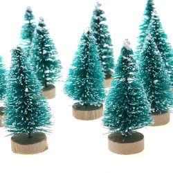 12 Pcs Mini Sisal Sikat Botol Pohon Natal Santa Salju Beku Desa Dekorasi Rumah