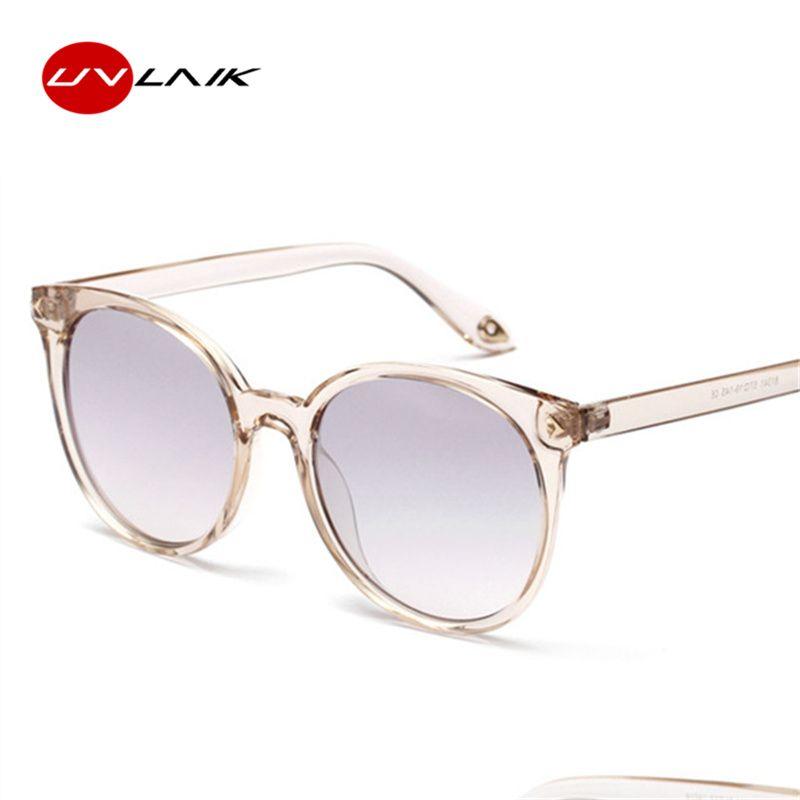 UVLAIK 90s Round Sunglasses Women Cat Eyes Sun glasses Ladies Vintage Black Coffee Color Eyewear Shades Mele Female UV400