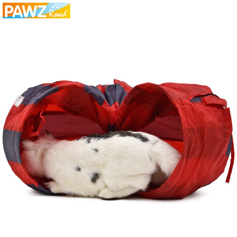 PAWZRoad Pet chat jouer Tunnel jouets rouge-gris pliable 2 trous chat Tunnel jouer froissé son chat petit Animal lapin jouer Tunnel