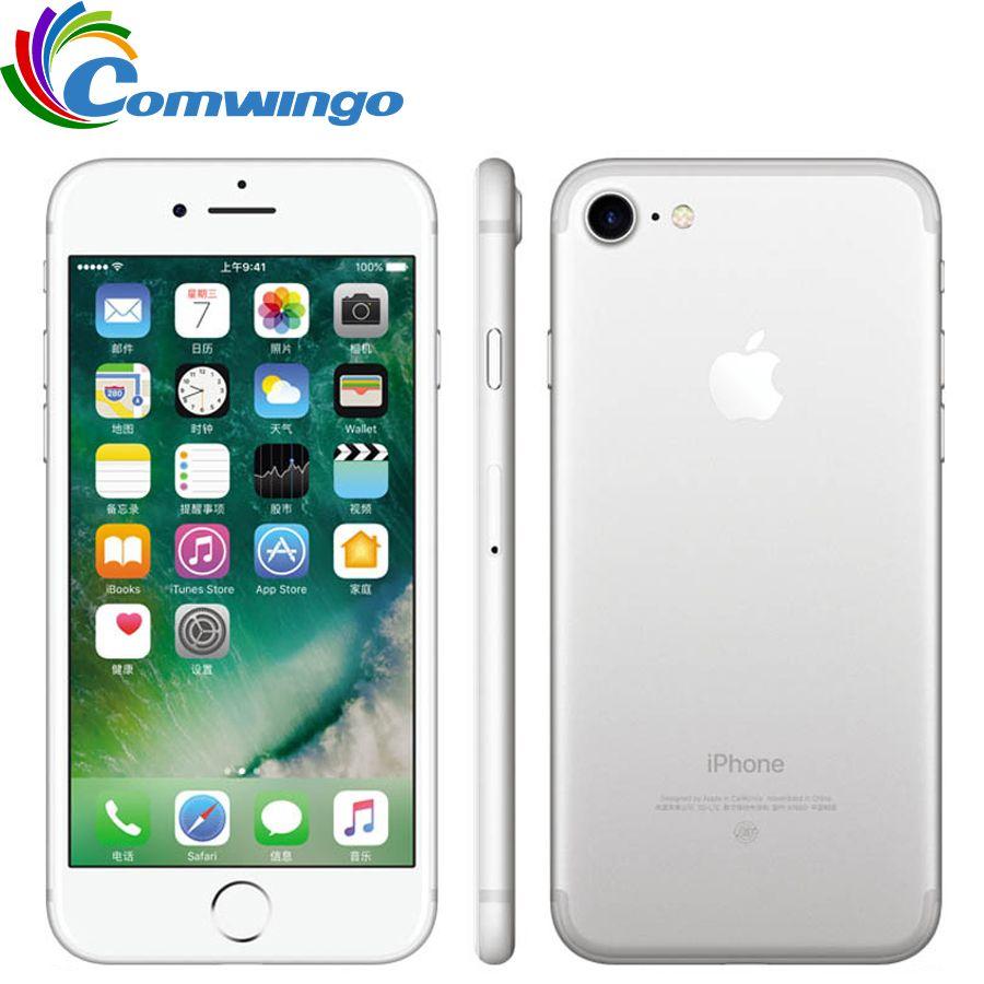Original desbloqueado apple iphone 7 LTE 32/128 GB/256 GB IOS 10 12.0mp 4G Cámara quad huella digital de 12mp 2910ma iPhone 7 teléfono celular