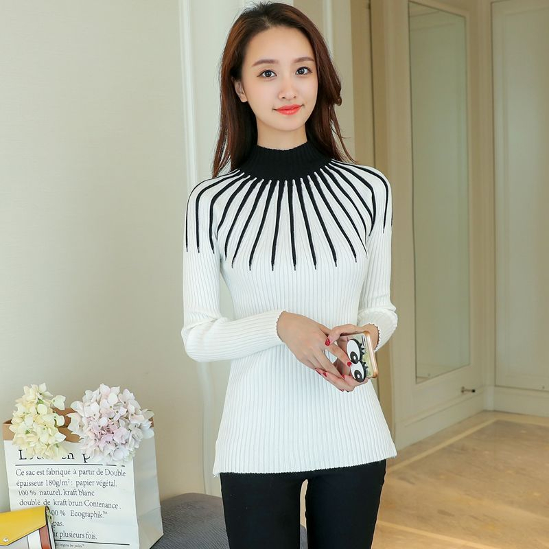 New Fashion Striped Sweater Long Sleeve 2017 Autumn Winter Knitted Sweaters Women Pullover Basic Slim Casual Knitting Sweater