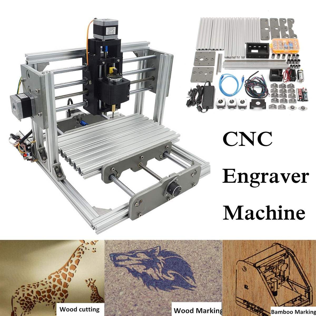 2500MW DC 12V 3 Axis Mini DIY Desktop CNC Laser Engraver Engraving Machine Milling Carving Cutter Wood Router 0.04MM+ T8 Screws