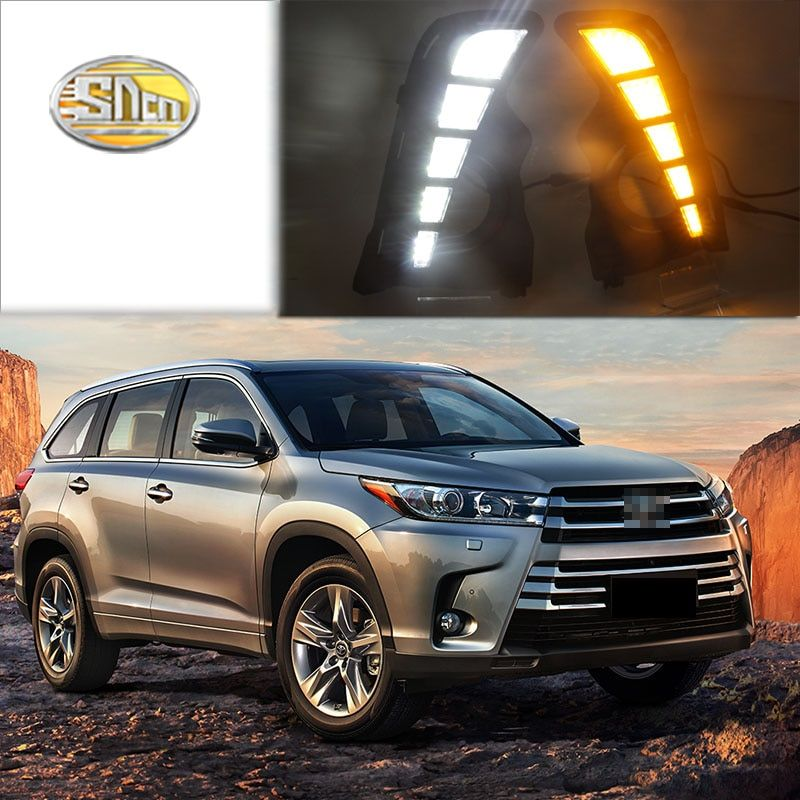 For Toyota Highlander 2018 with turn signal relay car-styling waterproof 12V LED CAR DRL Daytime running lights fog lamp cover