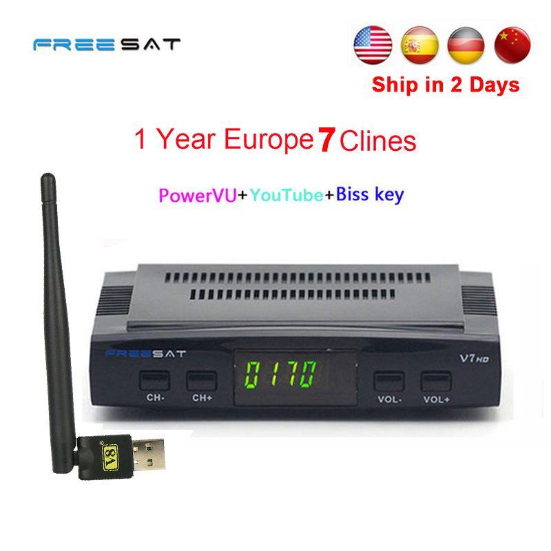 1 Année Europe clines serveur DVB-S2 Freesat V7 HD Récepteur satellite Décodeur + USB WIFI 1080 p HD youtube Powervu satellite récepteur