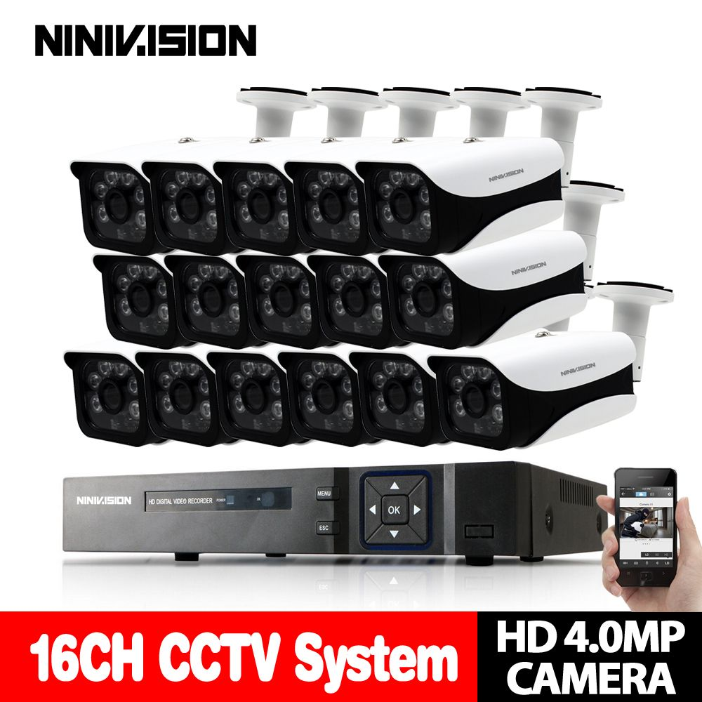 New Super Full HD 16CH AHD 4MP Home Outdoor CCTV Camera System 16Channel video Surveillance security camera kit 16ch 4MP AHD DVR