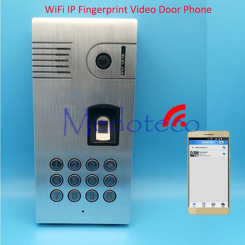 Wi-Fi IP отпечатков пальцев Дверной звонок отпечатков пальцев биометрический палец видео-телефон двери с приложение видео-телефон двери Управ...