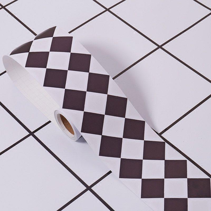 Nordique noir blanc treillis PVC étanche papier peint bordure salon cuisine salle de bain auto-adhésif bricolage Stickers muraux décor