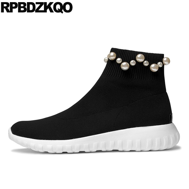 Pearl Ankle Black Stretch Designer Shoes Women Luxury 2017 Boots Sock Flat Autumn Knit Sneakers Slip On Muffin Platform Casual