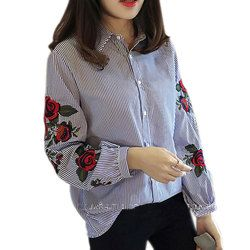 Fashion Women Floral Embroidery Blouse Lantern Long Sleeve Casual Shirt Spring Autumn Tops JL