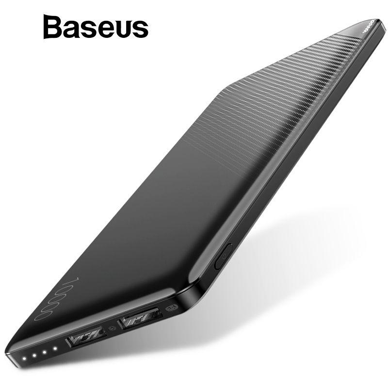 Baseus 10000 mAh batterie externe Pour iphone mobile Téléphone batterie externe Pack Mini Portable batterie externe Double USB banque d'alimentation de chargeur