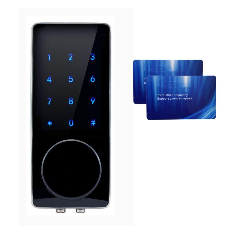 Electronic Door Lock Password, 2 Cards, 2 Mechanical Keys Touch Screen Keypad Digital Code Lock lk110BS