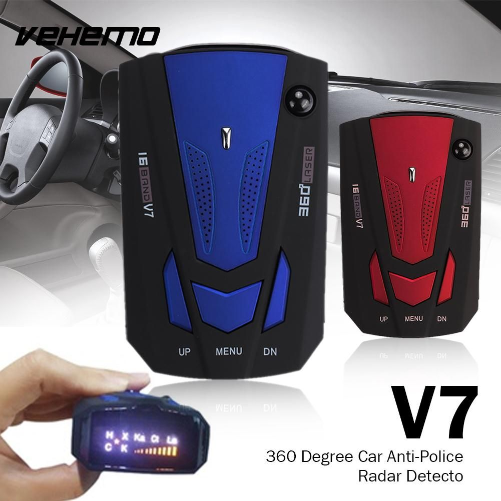Vehemo V7 Car Radar 16 Band Scanning Speed Control Detector Universal Voice <font><b>Alert</b></font> Warning Tracker Drive Safely Detector