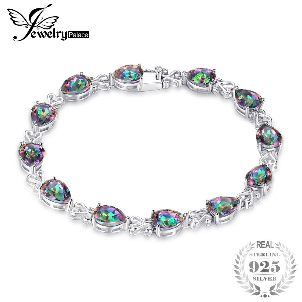 JewelryPalace Pear Luxury 25.4ct Genuine Rainbow Fire Mystic Topaz Solid 925 Sterling Silver Jewelry Tennis Bracelet For Women