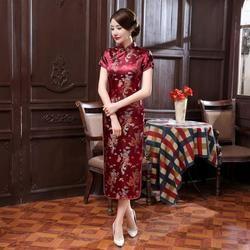 Burgundy Satin Qipao Musim Panas Lady gaya Tradisional Cina Cheongsam Dresses Wanita Lengan Pendek Panjang Qipao gaun Plus Ukuran S-6XL