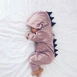 Emmababy Bébé Garçon Fille 3D Dinosaure Costume Solide rose gris Barboteuses chaud printemps automne coton barboteuse Combishort Vêtements