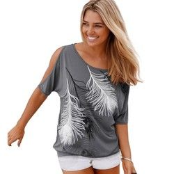 Fente Manches Froid Épaule Plume Impression Femmes Occasionnels D'été T-shirt Fille 2016 T T-shirt Lâche Top T-Shirt