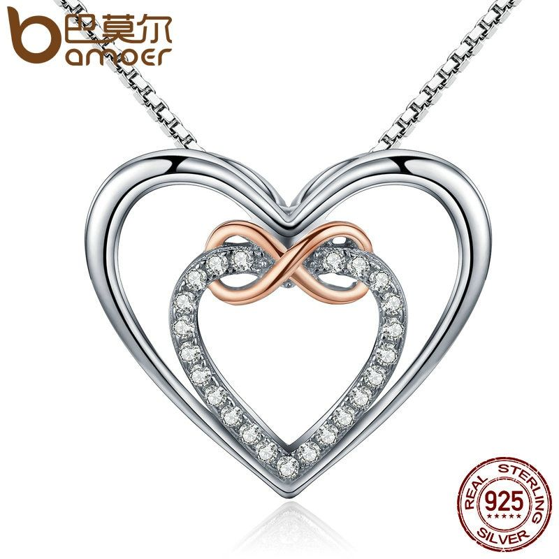 BAMOER Authentic 925 Sterling Silver Elegant Infinity Love <font><b>Double</b></font> Heart Pendant Necklaces for Women Fine Jewelry Gift SCN121