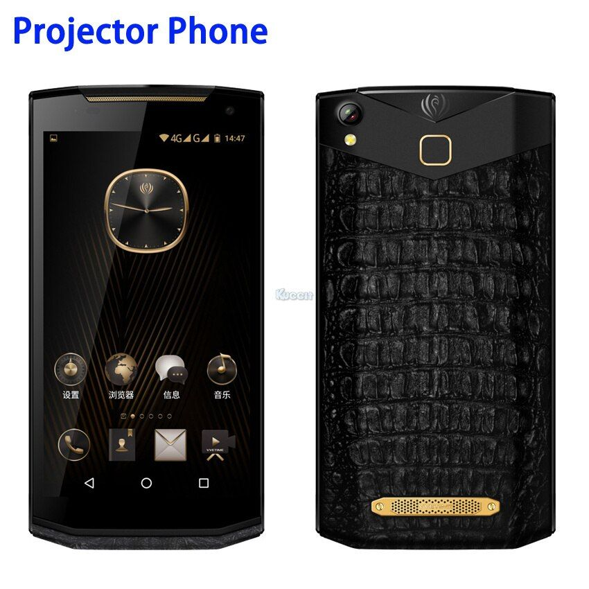 China Kcosit VM2 Android Projektor Telefon Tragbare Business Luxus Smartphone Leder 5,9 FHD 120 Lumen 16.0MP Kamera GPS OTG