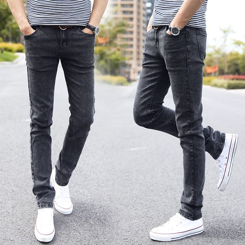 Designer Styles Brand Fashion Elastic Casual Straight Skinny Slim Fitted Jeans Pants <font><b>Tapered</b></font> High Waist Jean for Men rtls rwy802