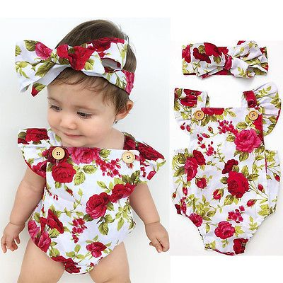 2pcs Set Newborn Baby Girls Summer Floral Rompers +headhand Baby Girls Flower Jumpsuit Clothes Outfits