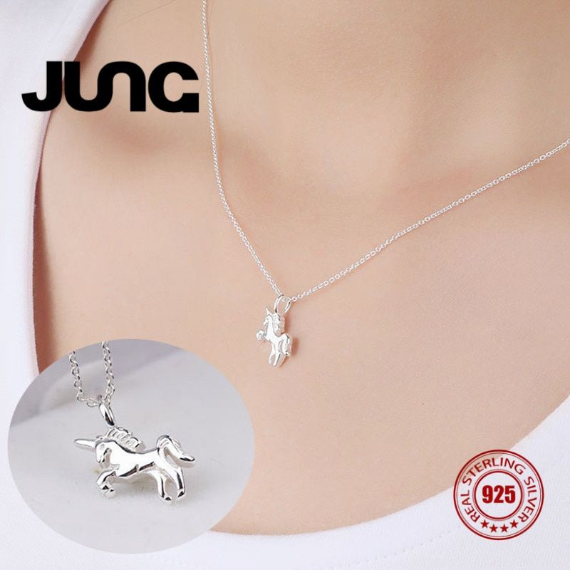 JUNG Couple Locers Moon Unicorn Sweet Horse 925 Sterling Silver Jewelry Charm Chain Pendant Necklace Women Collier Choker Collar