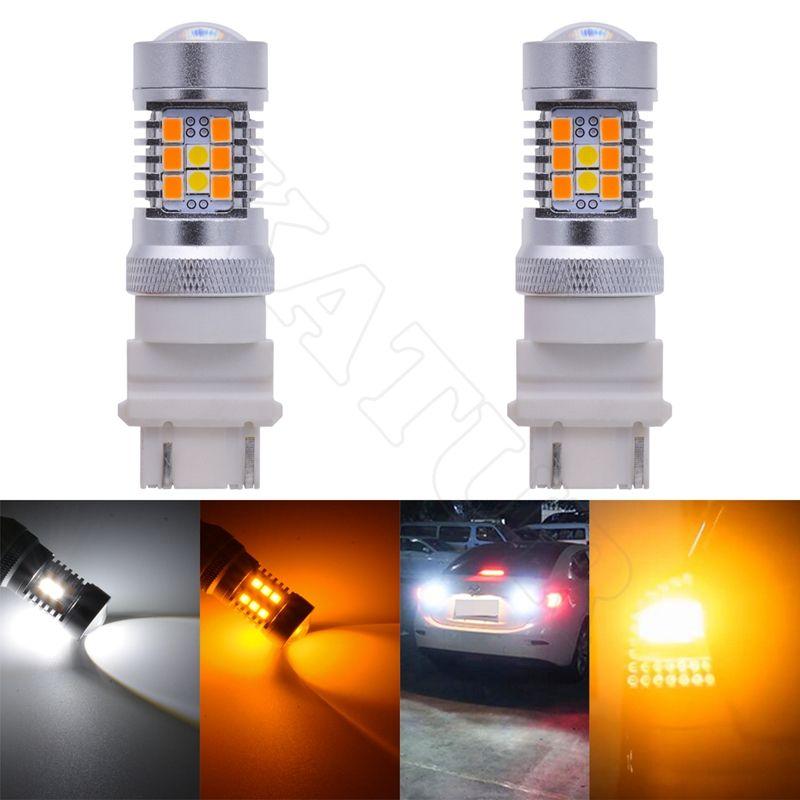 2 шт. высокое Мощность 2835 28-smd LED 3157 3357 3457 4157 4357 горки светодиодные лампы для передней указатели поворота белый/желтый