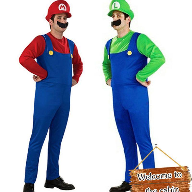 Umorden Halloween Costumes Hommes Super Mario Luigi Frères Plombier Costume Salopette Fantaisie Cosplay Vêtements pour Adultes Hommes