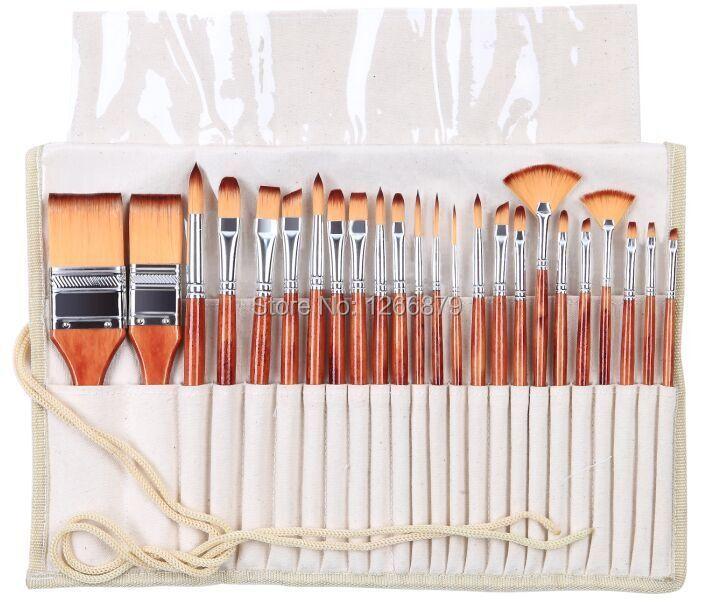 2281 24 Pc/ensemble peinture art brush set acrylique aquarelle brosses artistique ensemble avec crayon cas pour acrylique et peinture à l'huile dessin