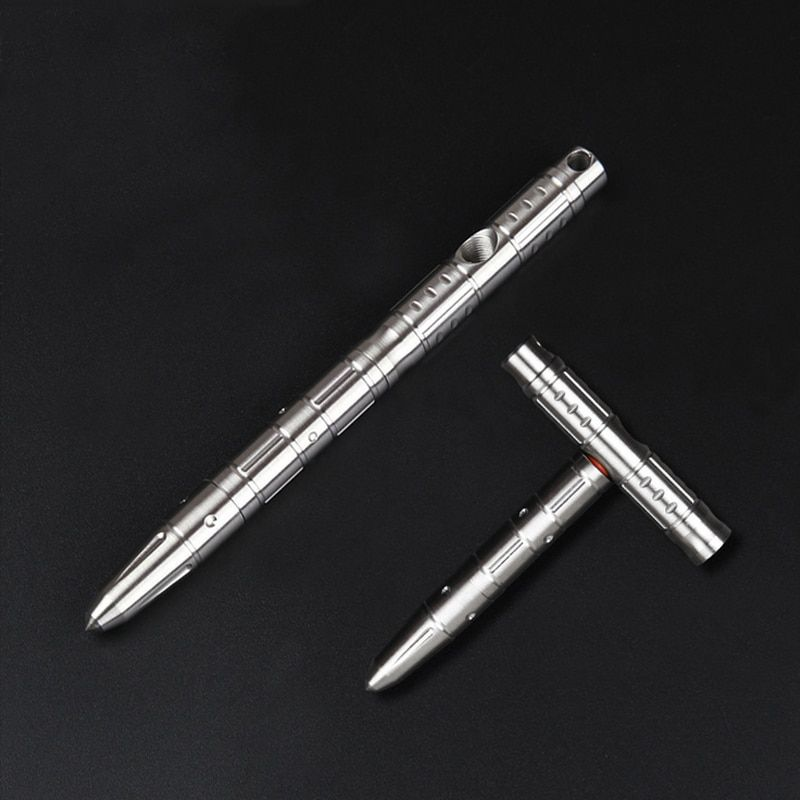 Multifonctionnel en acier inoxydable Variable en forme de T stylo marteau d'urgence tactique d'auto-défense EDC stylo d'écriture en plein air