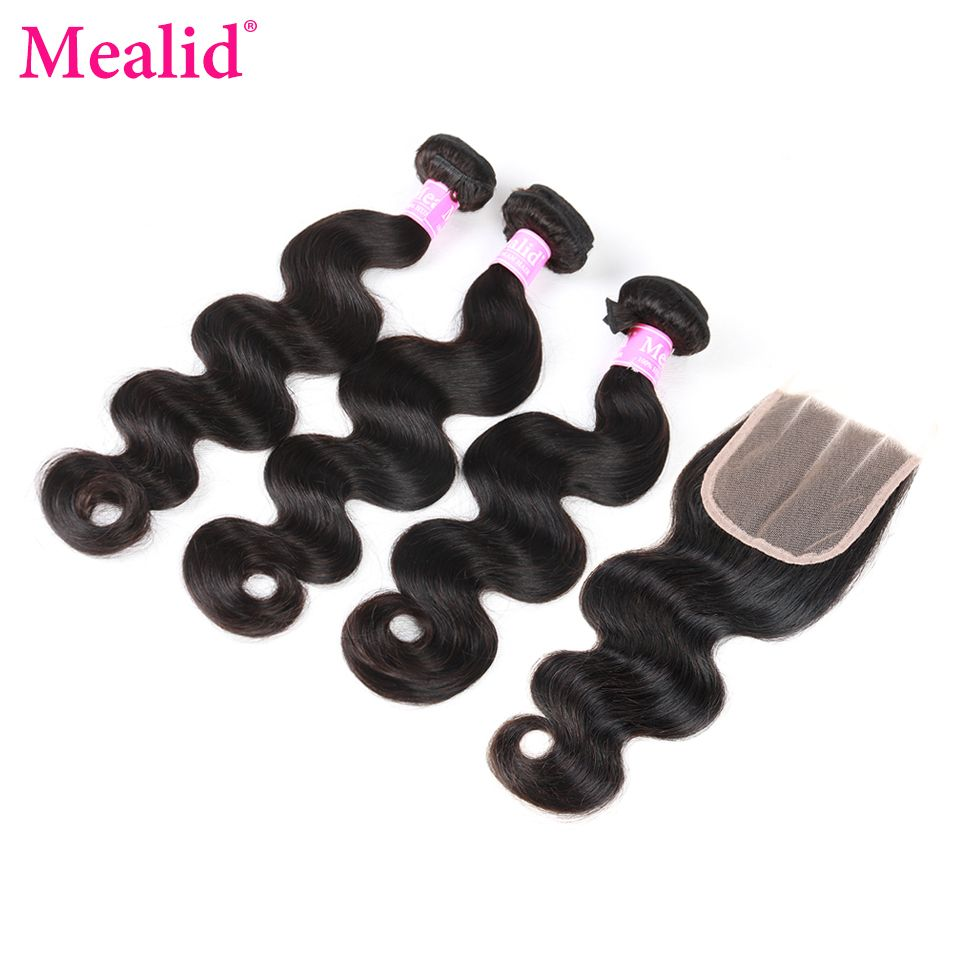 Mealid 3 Bundles Brazilian Body Wave Bundles With closure 8''-28''Non-remy Natural Color Human Hair Weave Bundles With Closure