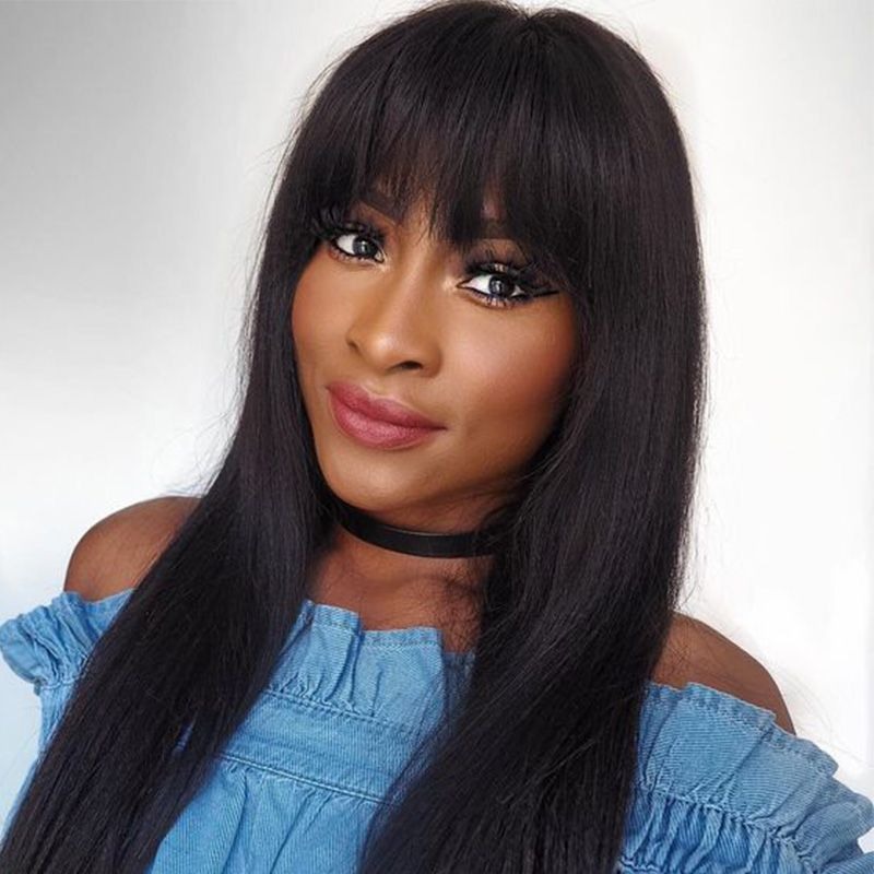 13x6 Lace Front Wigs With Bangs Pre Plucked Brazilian Straight 250 Density Lace Front Human Hair Wigs For Women Remy You May