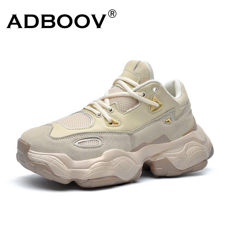 ADBOOV 2019 nouvelles baskets en cuir véritable hommes femmes grande taille 35-47 Designer Chunky chaussures respirant plate-forme chaussures décontractées